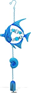 CoTa Global Blue Fish Sea Glass Hanging Wind Chime 19.69 Inch, Nautical Glass Windchime Outdoor Decor for a Harmonic Porch, Patio & Garden, Unique Beach Art Indoor Wind Chime Window Mobile