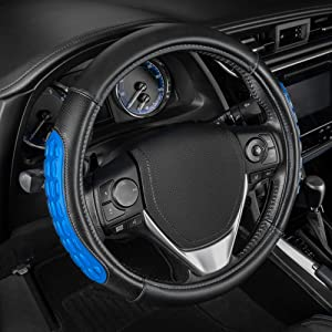 "Sharper Image Cooling Gel Cushion Grip Steering Wheel Cover with Microfiber Leather Universal fit (14.5-15.5""), Blue, Model Number: SISW-751-BL"