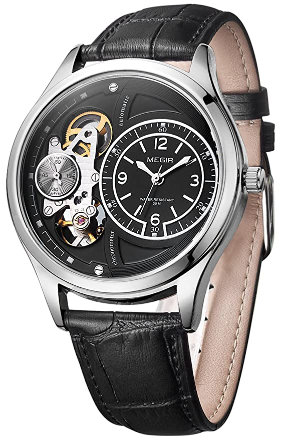 Amazon.com: PASOY Mens Automatic Watch 2 Movement Skeleton Dial Black Leather Band Silver Waterproof Sport Watches: Watches