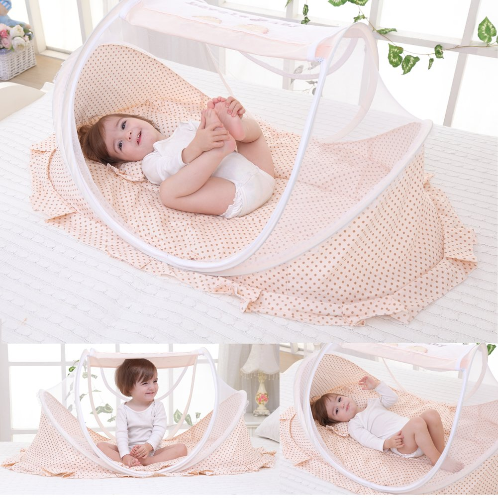 Baby Travel Bed Outdoor Pop-up Mosquito Net Newborn Portable Folding Insect Tent Infant Foldbale Crib Nettting (Beige) MUMIAN