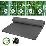 LANGRIA 2-Inch Twin Bamboo Charcoal Infused Memory Foam Mattress Topper, CertiPUR-US Certified, Hypoallergenic, Antibacterial, Mildew-Proof