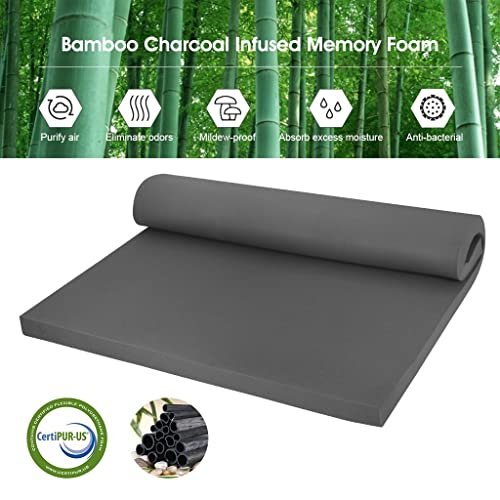 LANGRIA 2-Inch Bamboo Charcoal Infused Memory Foam Mattress Topper, CertiPUR-US Certified, Hypoallergenic, Antibacterial, Mildew-Proof, Twin Size