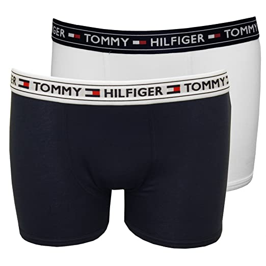 ec9d889289 Tommy Hilfiger Boy's 2-Pack Modern Logo Boys Boxer Trunks, White/Navy Age