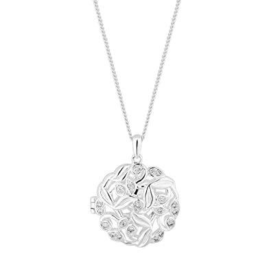 6328e5e3d0364 Simply Silver Women s Sterling Silver Leaf Entwined Locket Pendant Necklace   Amazon.co.uk  Jewellery