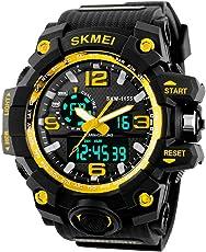 SKMEI Reloj Digital dual time Deportivo Militar Para hombre Resistente al agua. Cronómetro, Alarma, fecha y Retroiluminación. Caja Grande