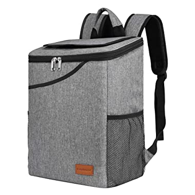 Insulated Backpack Cooler Bag, Large Capacity 24-Can Lunch Cooler,Soft Sided Picnic Bag for Camping Hiking Travel, for Men Women,Gray