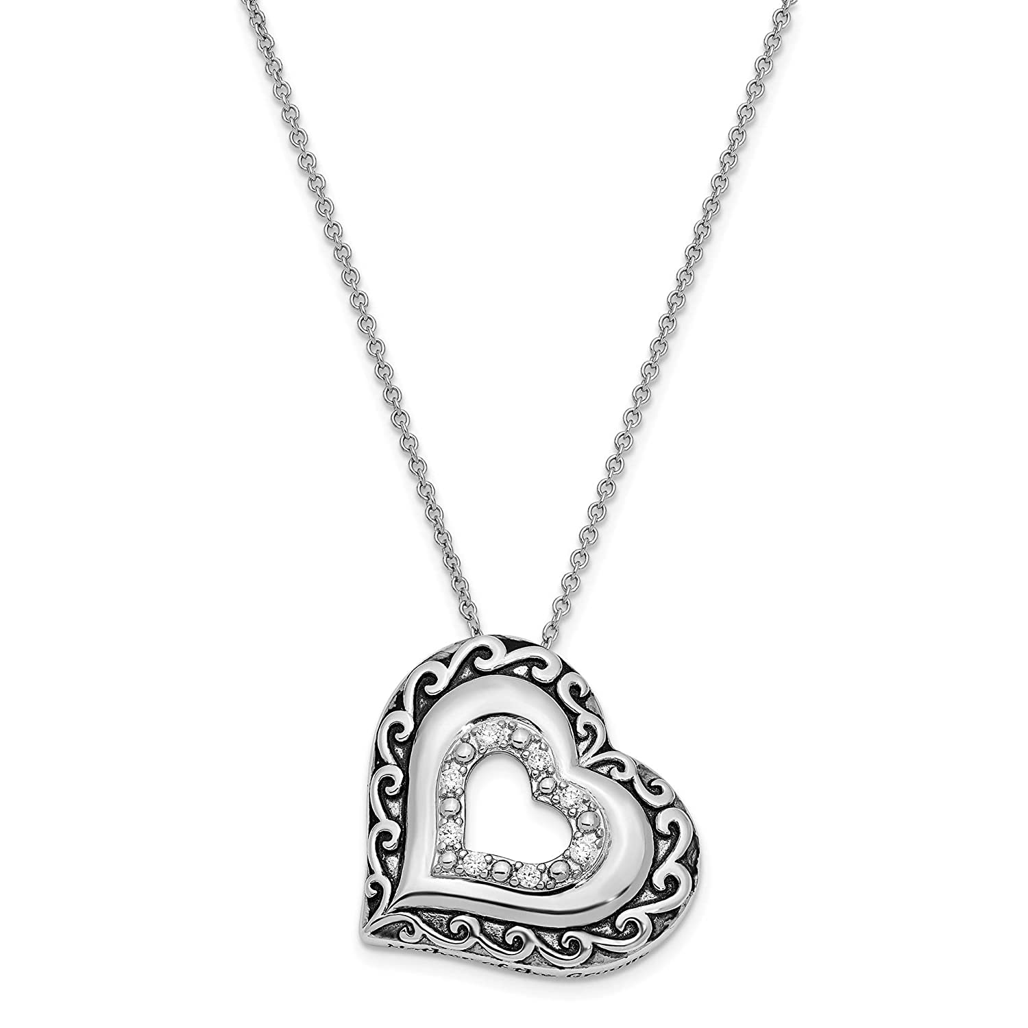925 Sterling Silver Polished /& Antiqued Mother Of The Groom CZ Necklace 18 by Sentimental Expressions
