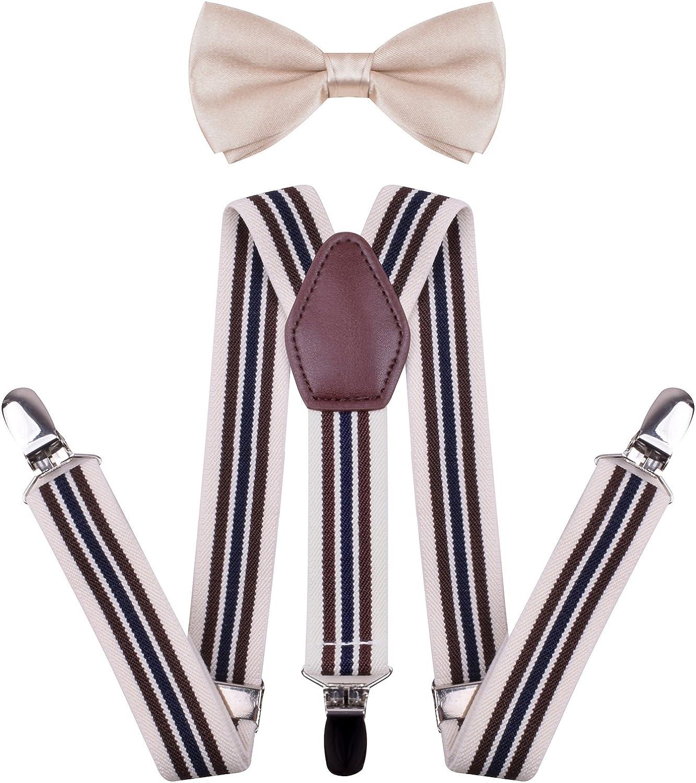 WDSKY Toddler Boys Mens Bow Tie and Suspenders Set Y Back Adjustable