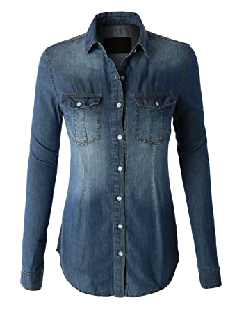 a302dac5 LE3NO Womens Vintage Button Down Denim Shirt with Front Pockets: Amazon.co. uk: Clothing