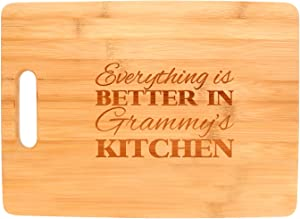 Everything Is Better in Grammy's Kitchen Décor Grandma Gift Big Rectangle Bamboo Cutting Board Bamboo