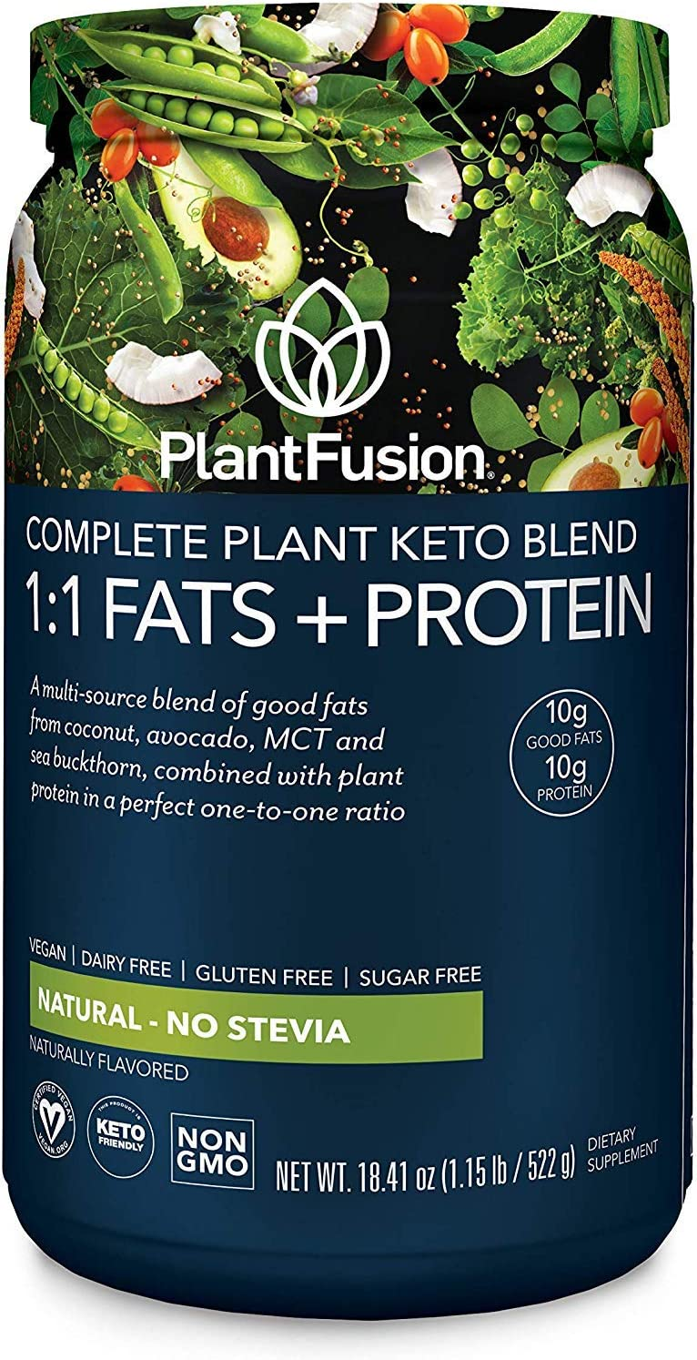 PlantFusion Complete Plant Based Keto Blend |1:1 Fats + Protein Powder Drink, Ketogenic Diet Supplement, MCTs, No Sugar, Gluten Free, Non Dairy, Vegan, Non Soy, Non GMO | Natural-No Stevia, 18.41 Oz
