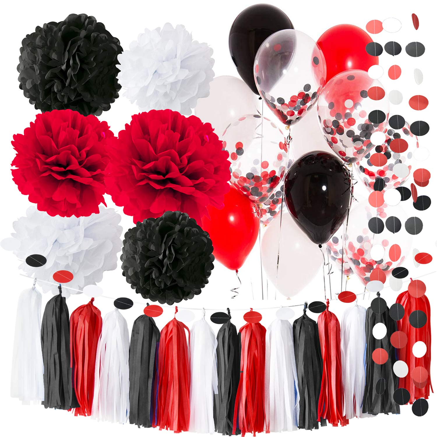 Pirate Party/Minnie Mouse Party Supplies White Black Red Ballons Pirate Birthday Party Decorations/First Birthday Girl Decorations Tissue Paper Pom Pom Minnie Mouse Birthday Party Decorations