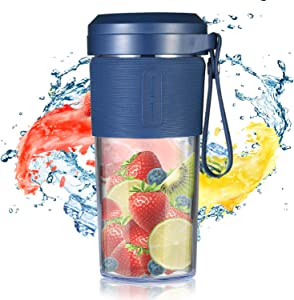 IKK Blender for Shakes and Smoothies, Portable Blender with 6 Blades, Personal Blender USB Rechargeable, 10oz Smoothie Maker Cup in High Speed, Great for Travel, Beach, Sports, Home, Office, and More