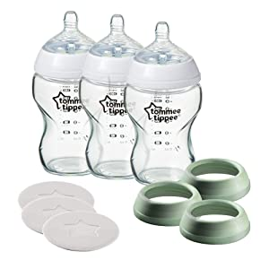 Tommee Tippee Closer to Nature 3 in 1 Convertible Glass Baby Bottles, Slow Flow Nipples - 9oz, 3ct