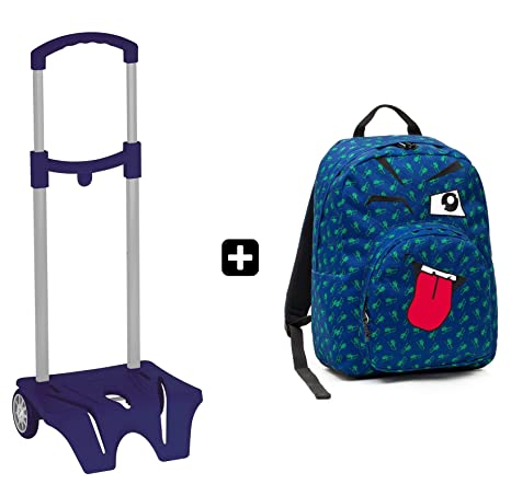 3d8204decf ZAINO INVICTA - OLLIE PACK FACE + EASY TROLLEY - Blu Linguaccia - tasca  porta pc