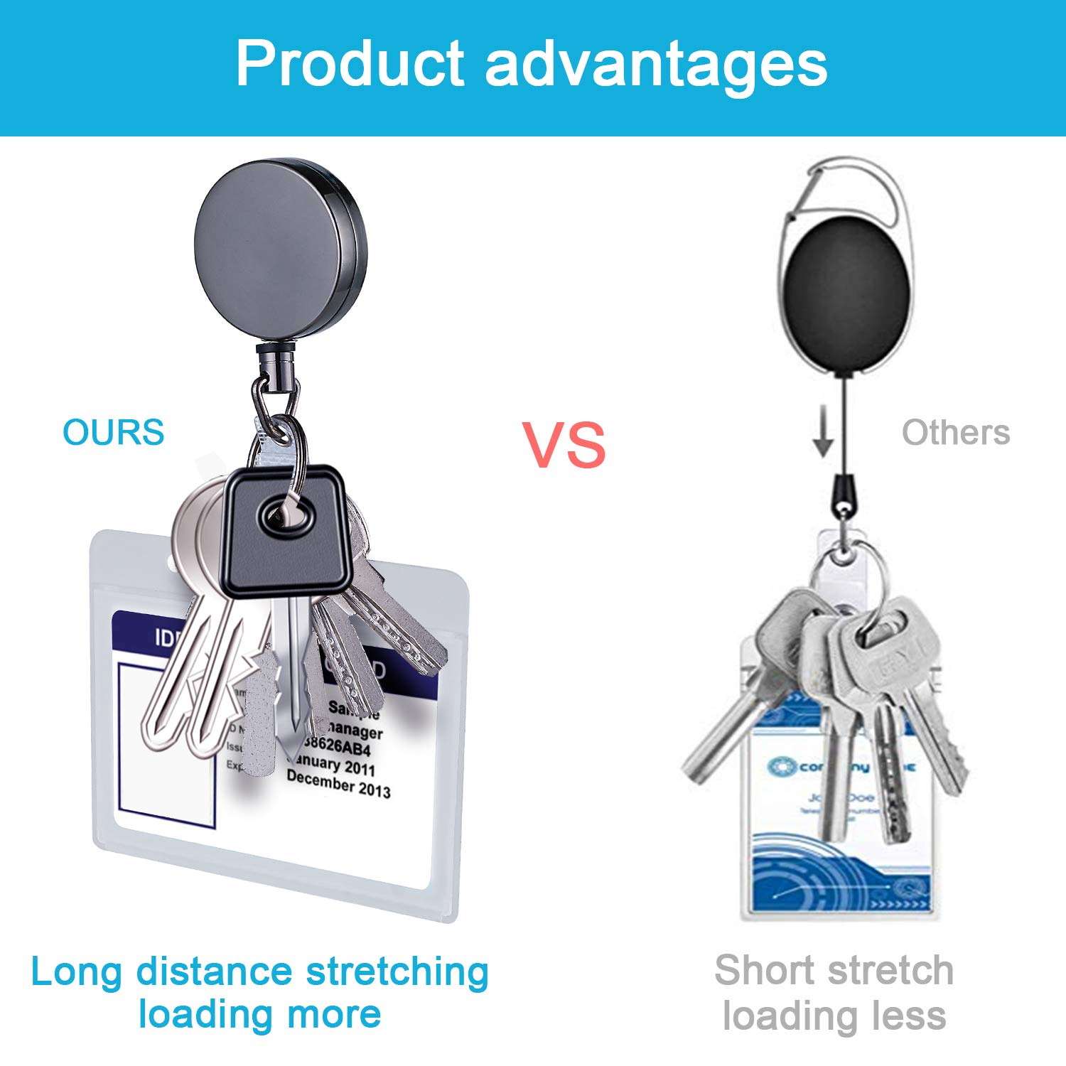 Halnziye [3 Pack] Badge Holder, Heavy Duty Belt Clip Keychain with Hard Plastic Waterproof Retractable ID Badge Holder Reel for Office Company Employee School Student Bus Pass Name Card - Clear
