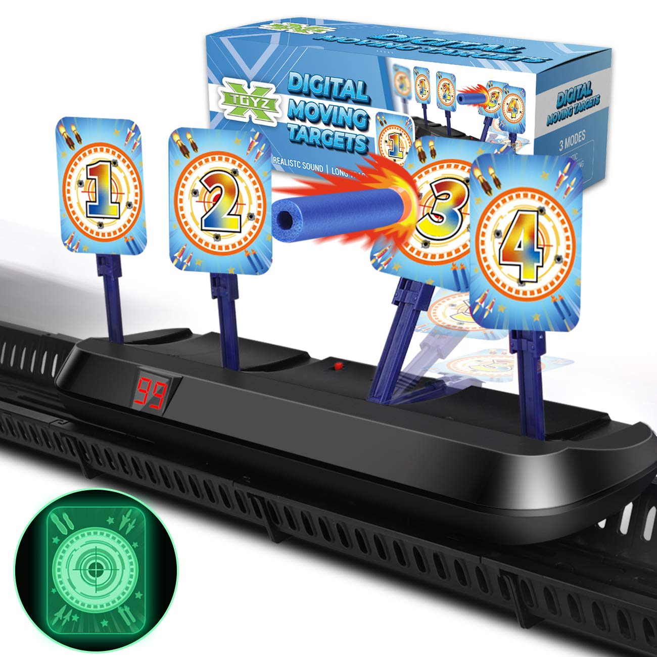 X TOYZ Digital Targets Shooting Game Toy for Kids - Electronic Running Target Auto Rest for Shooting Practice Compatible with Nerf Guns, Ideal Gift for Age 6+ Kids, Boys & Girls