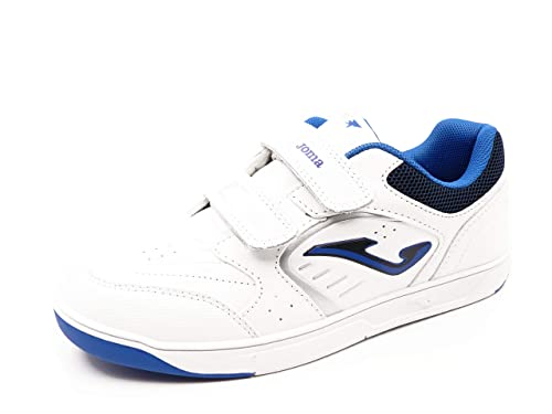 Zapatilla Deportiva niño Marca Joma, Piel Color Blanco-Royal Azul, Cierre Velcro -