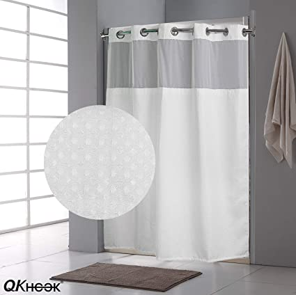 QKHOOK Hookless Shower Curtain With Snap In Liner 1 Pack 71x74 Inches Mildew Resistant Fabric Waffle