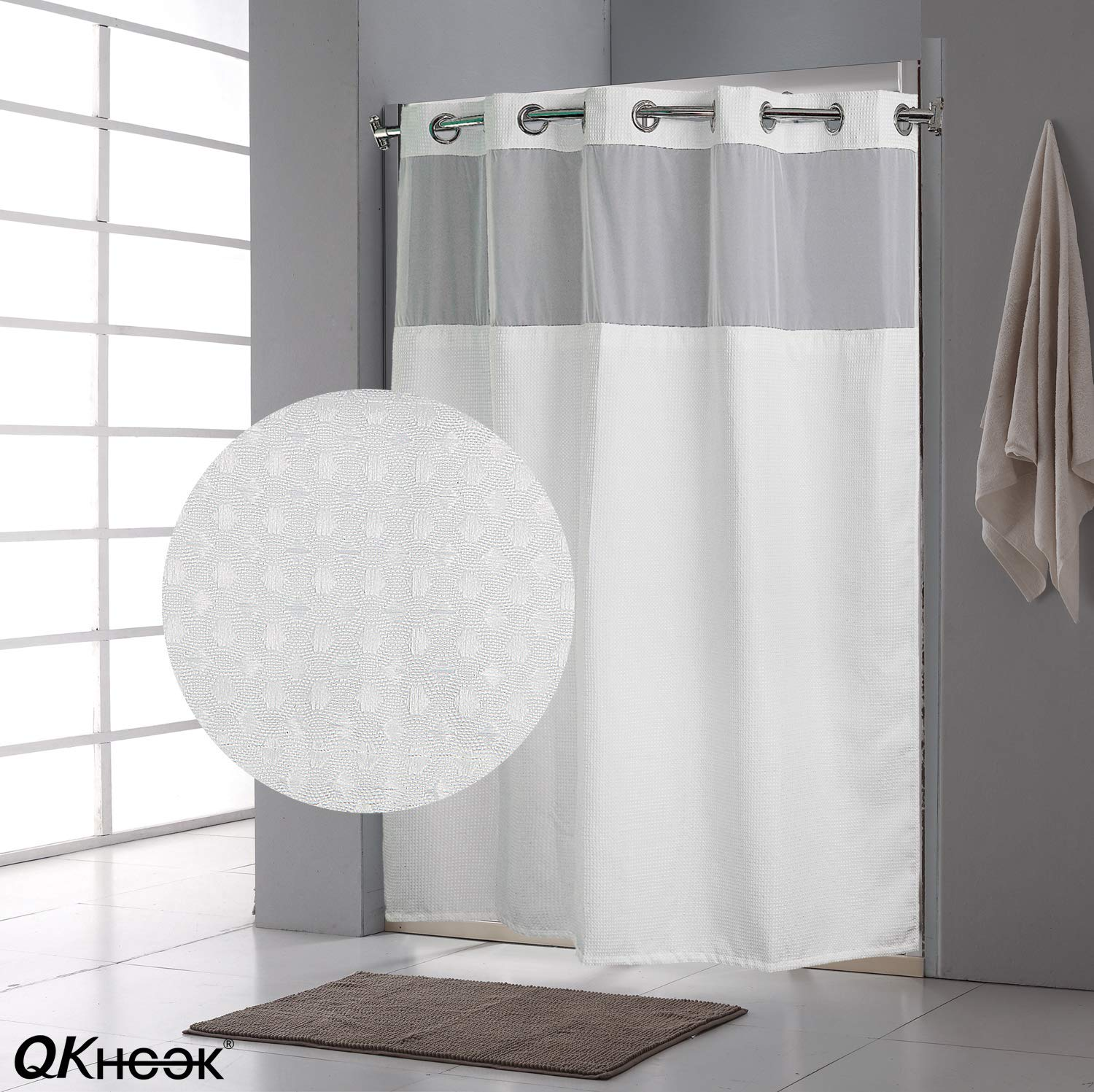 QKHook Hookless Shower Curtain with Snap in Liner 1 Pack 71x74 Inches Waffle Pattern Fabric Water-Repellent
