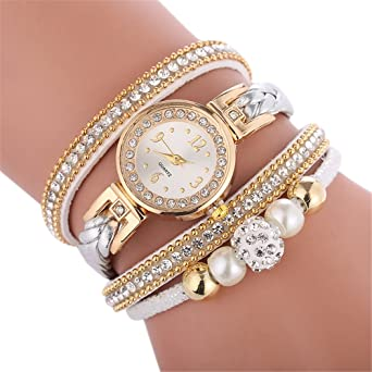 b5f31d7db Women's Watches Spritumn Ladies Bracelet Student Watch Jewelry Set,  Beautiful Fashion Bracelet Watch Ladies Watch Round Bracelet Watch (A):  Amazon.co.uk: ...