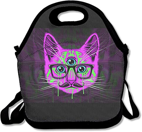 Jh Speed Lunch Tote Bag Three Eyes Psychedelic Cat Picnic Lunchbox Lunch Tote Insulated Reusable Container Organizer For Adults Kids Amazon Co Uk Kitchen Home