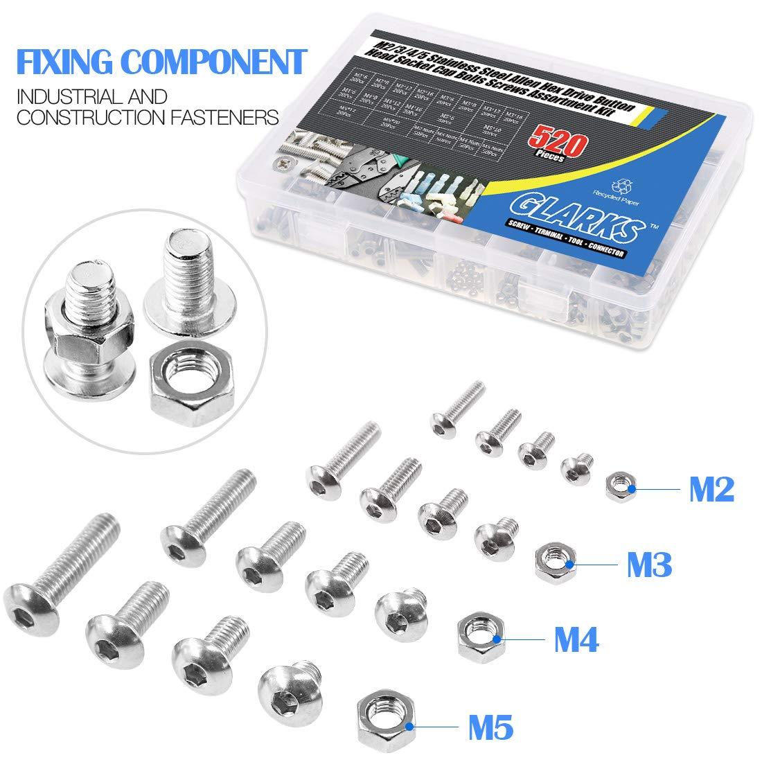 3//4 5 Stainless Steel Allen Hex Drive Button Head Socket Cap Bolts Screws Assortment Kit Glarks 520Pcs M2