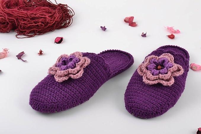 Zapatillas De Casa Originales Hechas A Mano Cómodas Femeninas Moradas Estilosas: Amazon.es: Ropa y accesorios