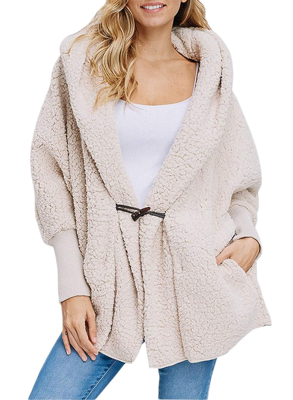 10012ec2fdf Amazon.com  Sidefeel Women Open Front Shaggy Cardigan Hooded Fleece Coat  Jacket with Pockets  Clothing