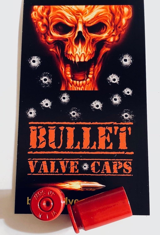 2 Bullet。。。40 cal。。。シュレーダーバルブキャップ。。。赤+ 1デカール。。。Cycling。。MTB。。自転車 B077SMV9BC