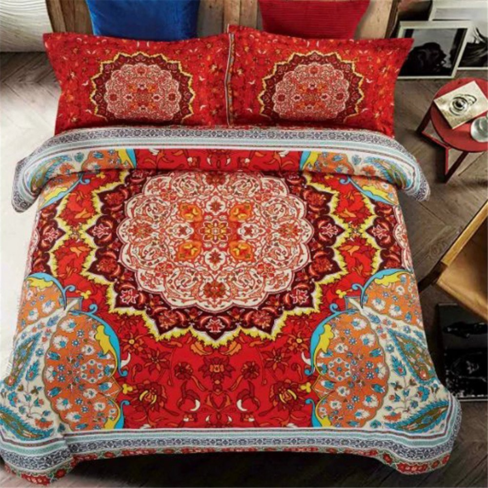 Auvoau Bohemian Bedding Set Boho Bedding 4Pcs National Wind Bedding Bohemian Style Duvet Cover Set