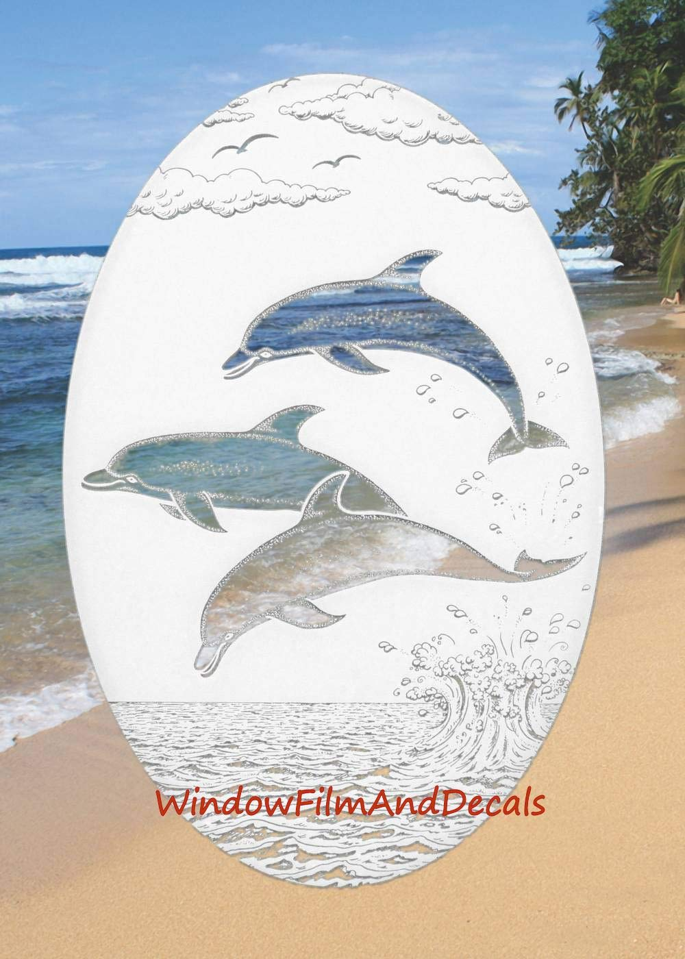 Dolphins Jumping Oval Etched Window Decal Vinyl Glass Cling - 21'' x 33'' - White with Clear Design Elements by Vinyl Etchings