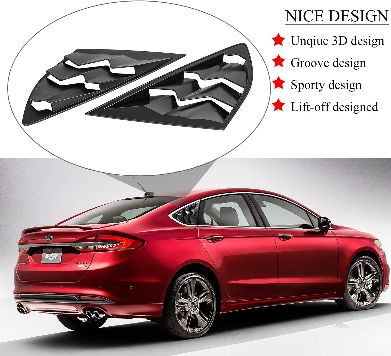 Side Window Louvers for 2013-2020 Ford Fusion Models Matte Black ABS Windshield Sunshade Cover in GT Lambo Style