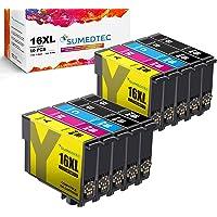 Sumedtec - 10 Cartucho de Tinta Compatible para Epson 16XL para WF2630 WF2510 WF2760 WF2530 WF2520 WF2540 WF2750 WF2660…