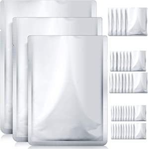 40 Pieces Mylar Aluminum Foil Bags 3 Sizes Sealable Storage Bags Silver Metallic Mylar Foil Bags Heat Sealable Bags for Food Coffee Tea Nuts (8 x 12 Inches, 7 x 10 Inches, 5 x 7 Inches)