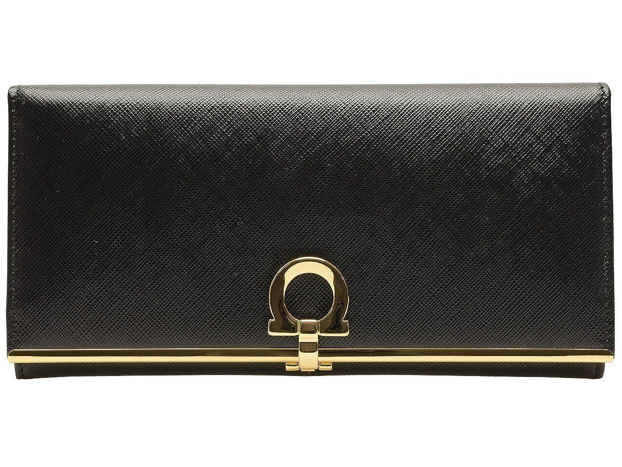 (サルヴァトーレフェラガモ) Salvatore Ferragamo 財布 長財布 二つ折り ガンチーニ ブラック 型押しカーフスキン 224633-0614666 ブランド [並行輸入品] B01H1KCW3O