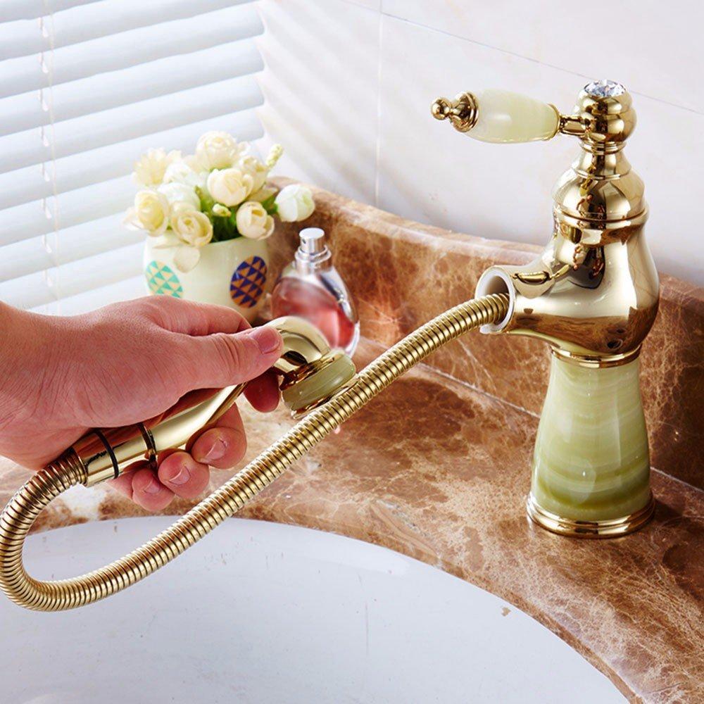 LSRHT Waschtischarmatur Wasserhahn Armatur Badezimmer Waschbecken Mischbatterie  Kupfer Jade ziehen Sie Beschichtet einzelne Bohrung tb-01