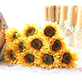 "Elefan 24"" Artificial Sunflower Bridal Wedding Bouquet Latex Silk Flower Bouquets (10pcs)"