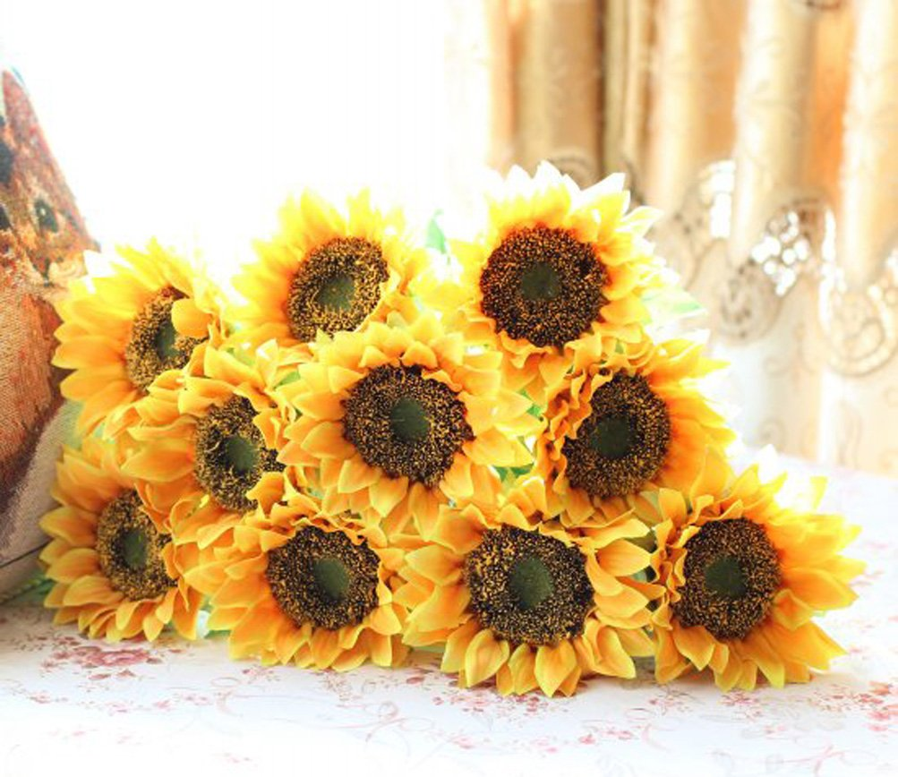 Amazon elefan 24 artificial sunflower bridal wedding bouquet amazon elefan 24 artificial sunflower bridal wedding bouquet latex silk flower bouquets 10pcs home kitchen junglespirit Images