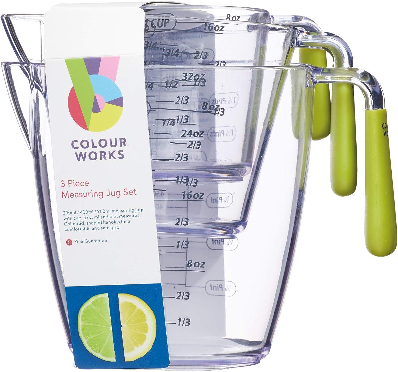 Kitchen Craft Colourworks 3 Piece Measuring Jug Set Green