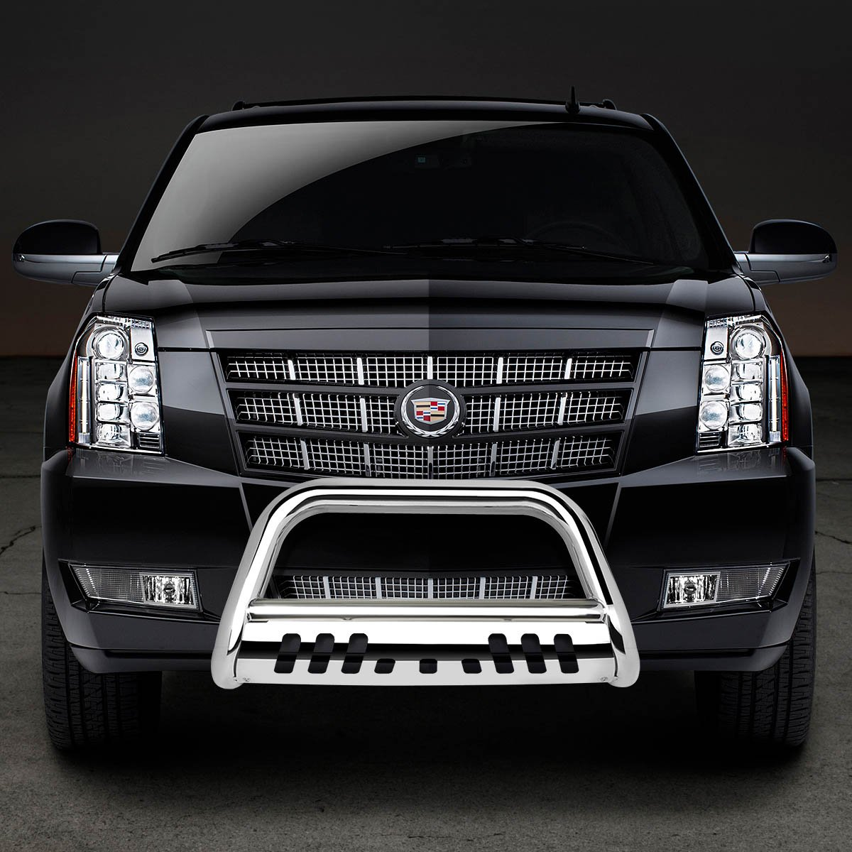 For Chevy Suburban//Tahoe//Escalade GMT900 3 Bumper Push Bull Bar+Removable Skid Plate Chrome