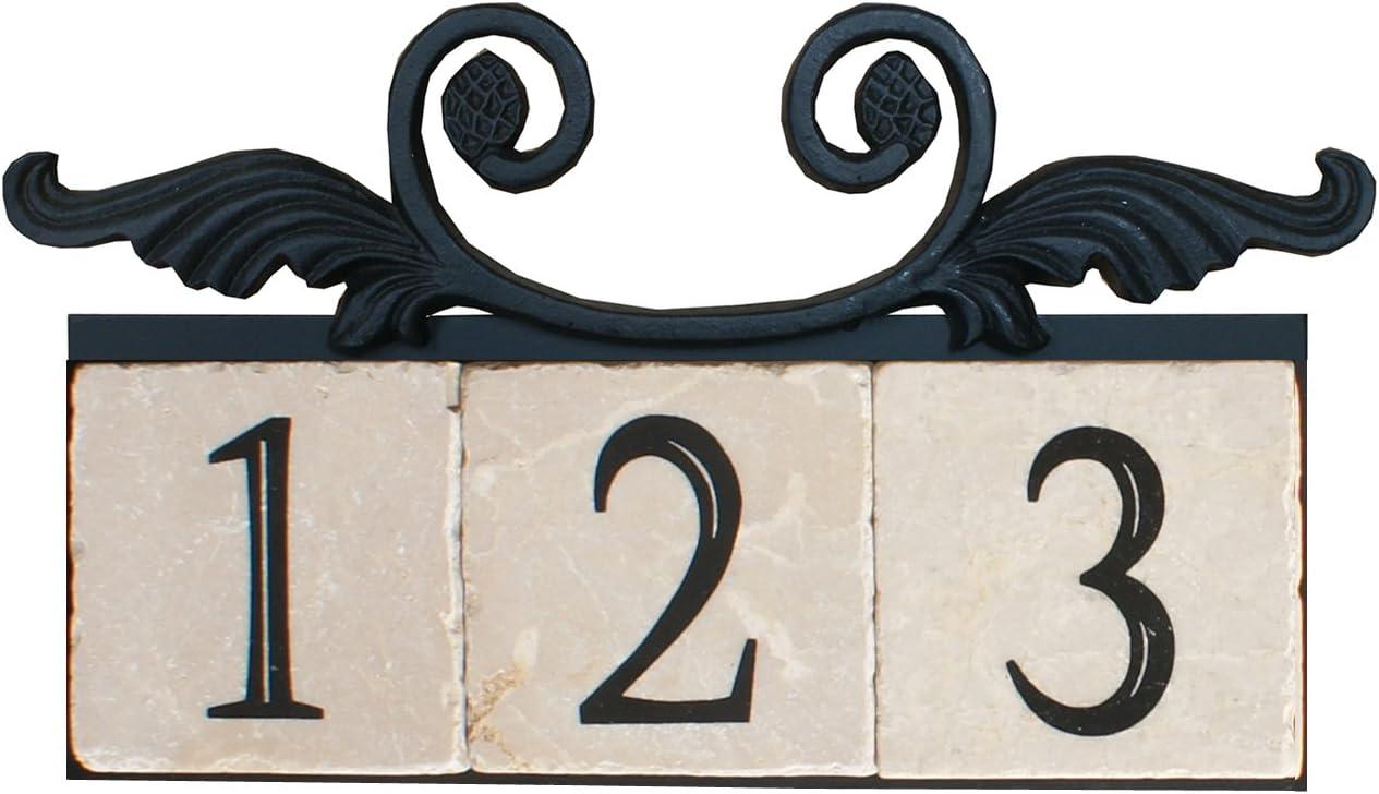 NACH KA House Address Sign//Plaque Iron 25 x 1 x 5.5 Large Crest 4 Numbers