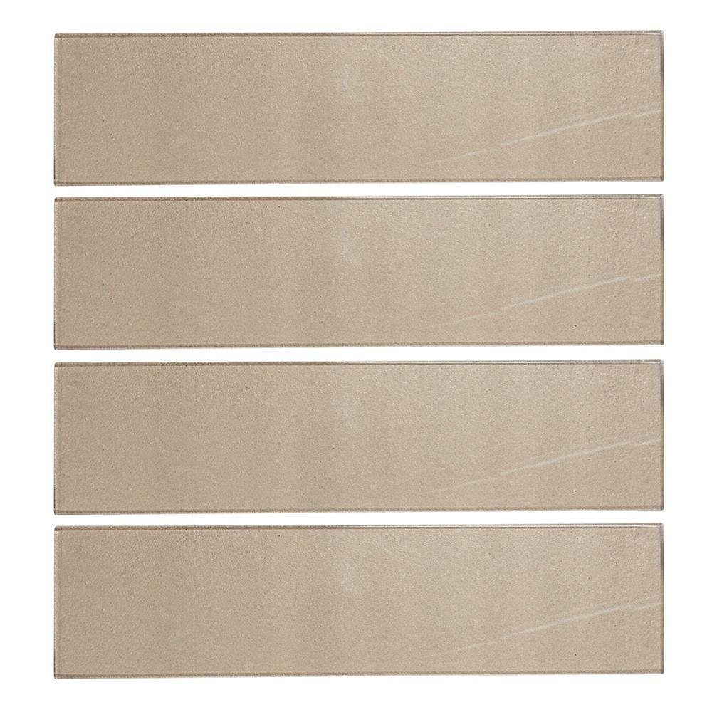 Aluminum 4 in. x 16 in. x 8 mm Glass Wall Tile (10.56 sq. ft. / case)