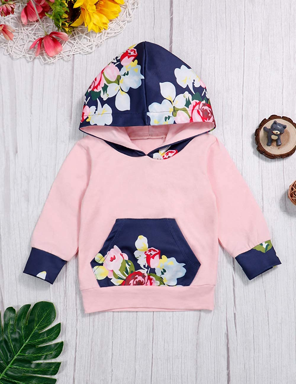 2pcs Baby Girl Clothes Fall Winter Long Sleeve Floral Print Hoodie Pants Outfit Set