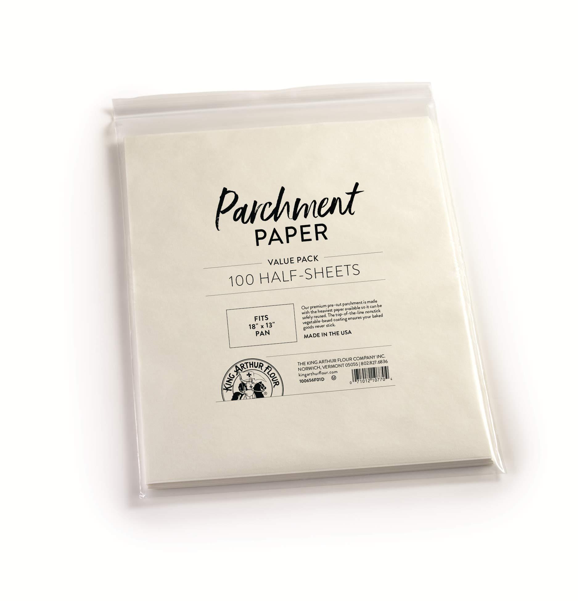 King Arthur Flour Precut Baking Parchment Paper, Heavy Duty, Professional Grade, Nonstick, Reusable, Resealable Pack, 12' X 16', 100 count (Pack of 22) by King Arthur Flour