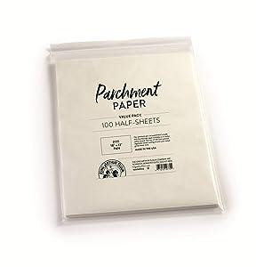 """King Arthur Flour Precut Baking Parchment Paper, Heavy Duty, Professional Grade, Nonstick, Reusable, Resealable Pack, Fits 18"""" X 13"""" Pan, 100 count"""