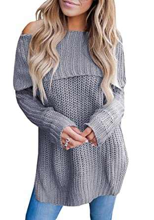 ffad54cd2659 Valphsio Womens Casual Off Shoulder Loose Jumper Long Sleeve Knit Sweater  Pullover