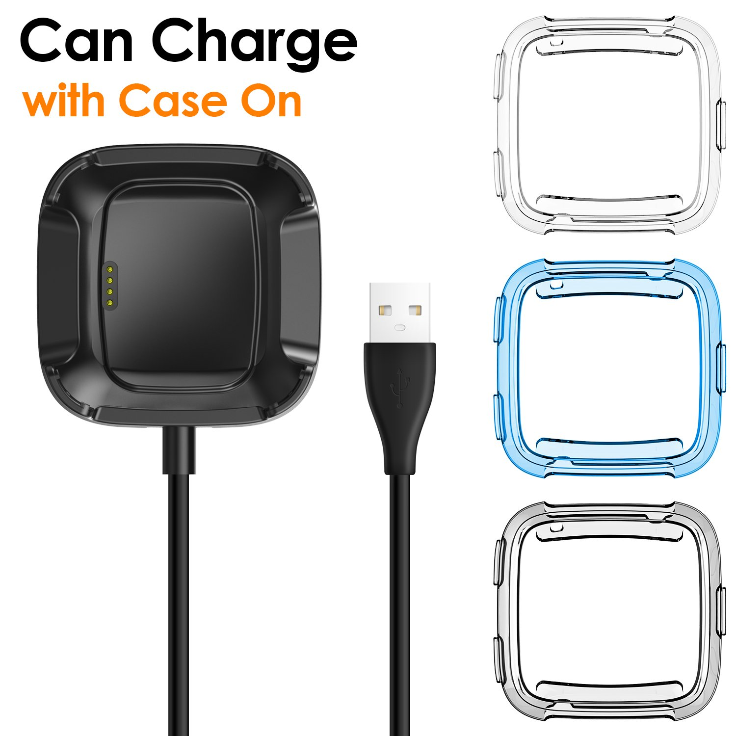 EZCO Fitbit Versa Case with Fitbit Versa Charger [3 +1 Pack], Exclusive Charging Cable (Can Charge with Case On), Soft TPU Protective Cover Shell Bumper Case Protector for Fitbit Versa Smartwatch