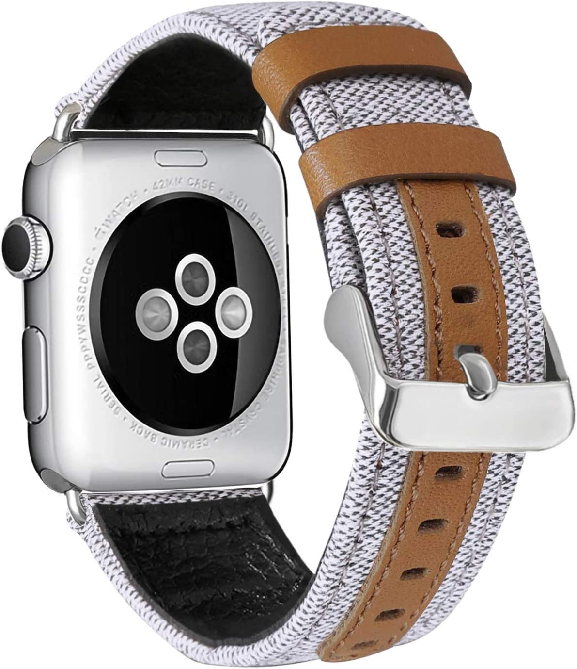 ALADRS Canvas Watch Straps Compatible with Fabric Apple Watch Band 44mm 42mm, Leather Wristbands Replacement for iWatch Series 6 5 4, SE (44mm) Series 3 2 1 (42mm), Creamy-White