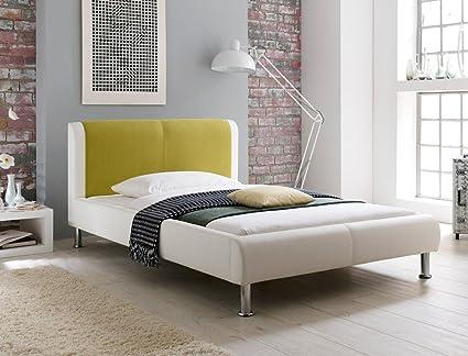 Cama acolchada Falo blanco verde 180 x 200 cama doble de ...